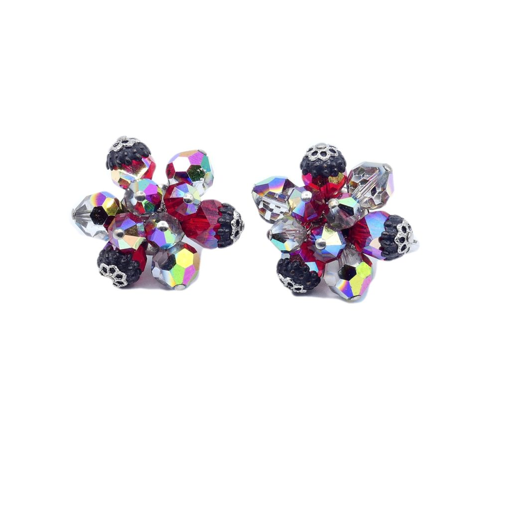 Vendome Vintage Jewelry Modern Period MOD Look Earclip Earrings