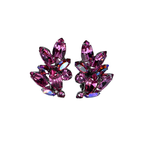 1950s Weiss Pink Color-Change Fluorite Crystal Clip-on Earrings