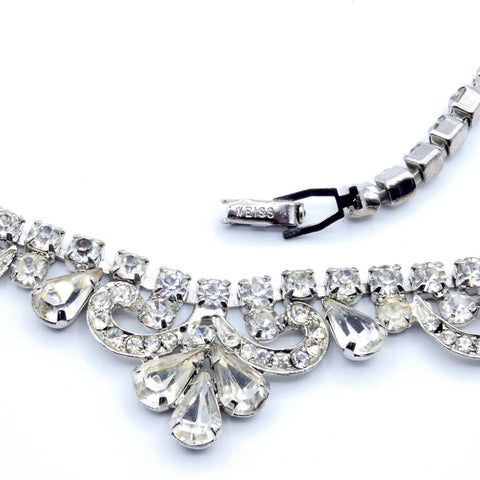 Weiss Art Deco Ladies White Crystal Choker