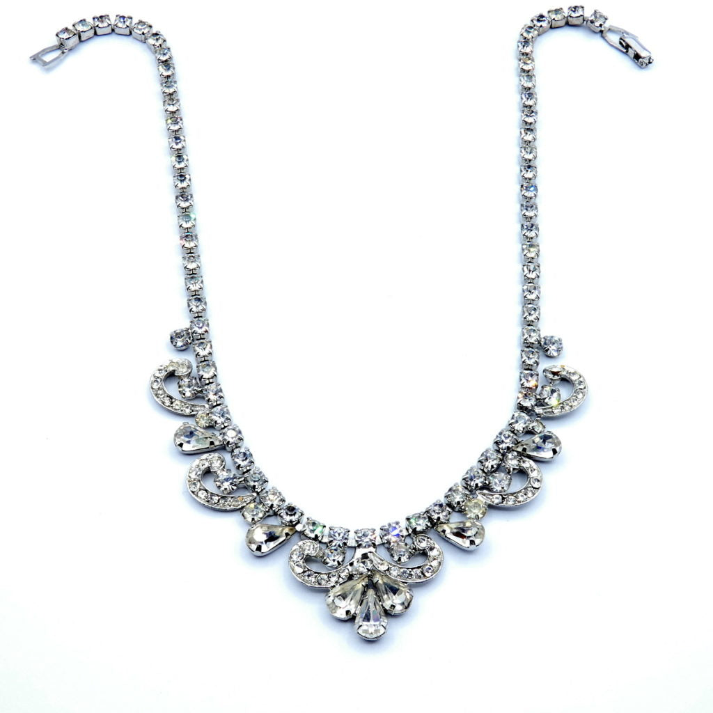 Weiss Jewelry Art Deco Ladies White Crystal Choker