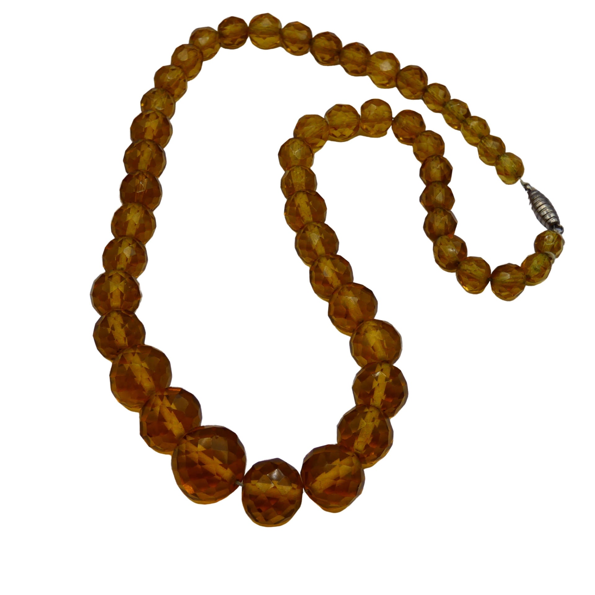 Retro Period Jewelry - Amber Cut Glass Necklace
