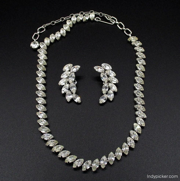B. David Jewelry - White Crystal Choker Necklace and Earrings Set (c. 1950s) - indypicker-com