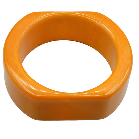 Vintage Bakelite Jewelry - Bangle Bracelet Marbled Egg Yoke Swirl Semi Square