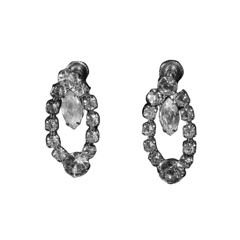 1950s Jewelry Tear Drop Rhinestone Earrings