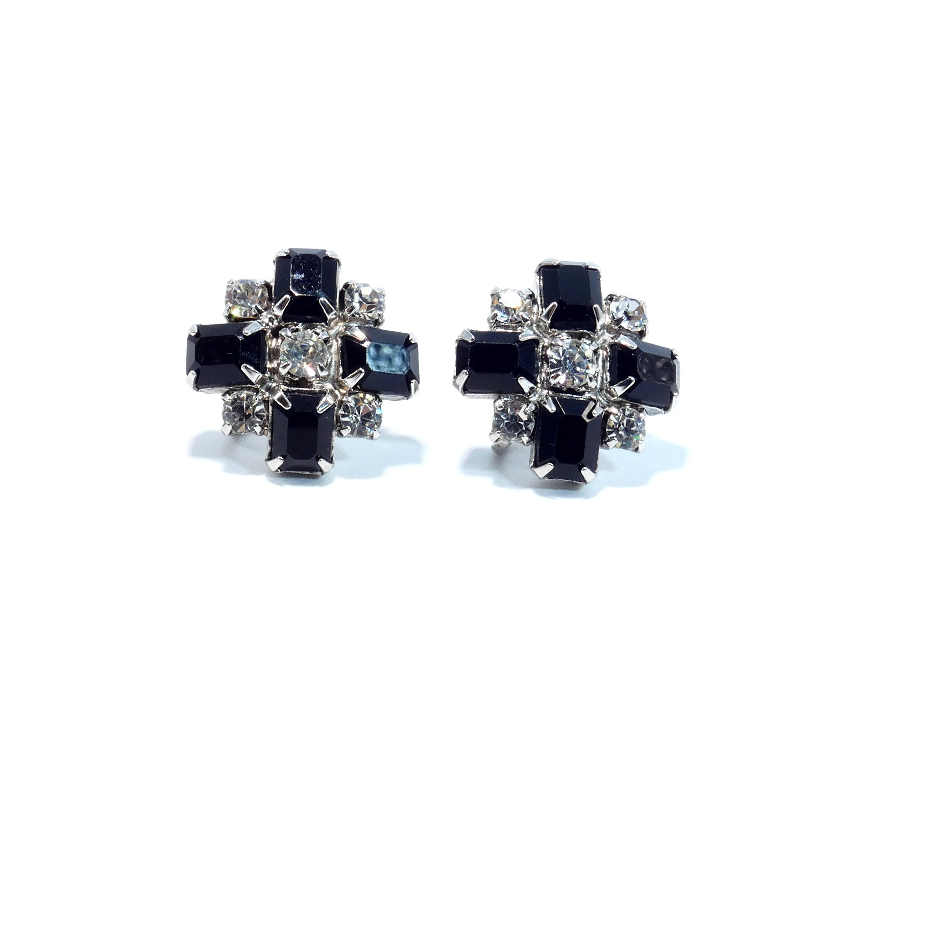 Vintage 1950s Black Rhinestone Cross Design Screw Back Earrings