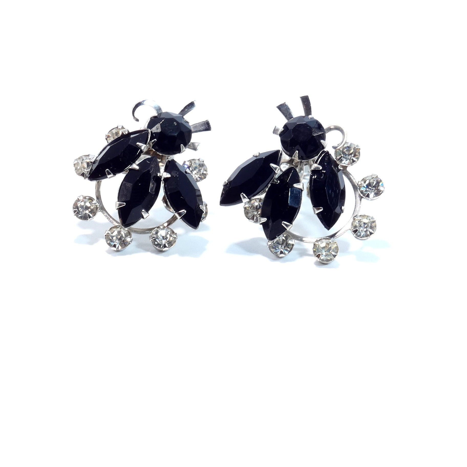 Vintage 1950s Black Rhinestone Flower Design Clip on Earrings