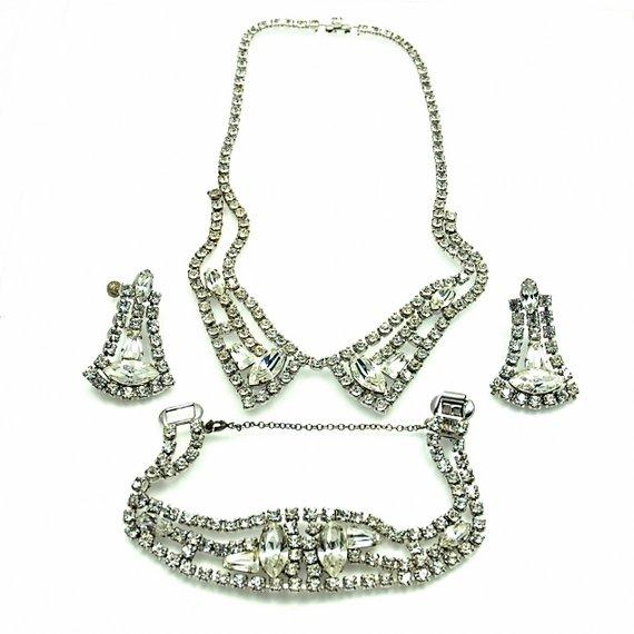 Classic Art Deco Jewelry Rhinestone Set in Original Box
