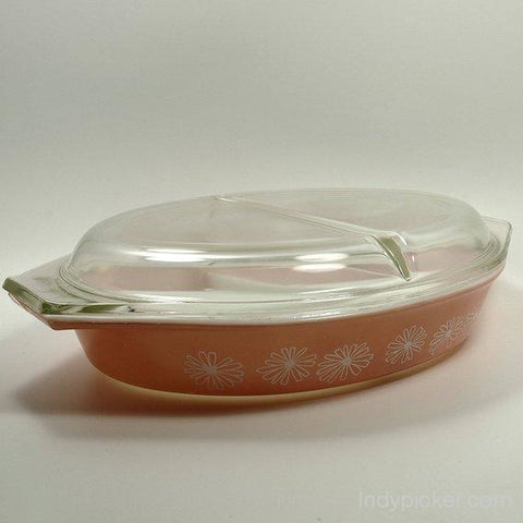 Vintage Pyrex Promotional Casserole Dish Cinderella Style Pink Daisy