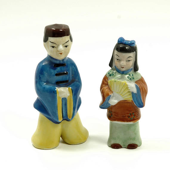 Vintage Porcelain Figures Japanese Man and Woman