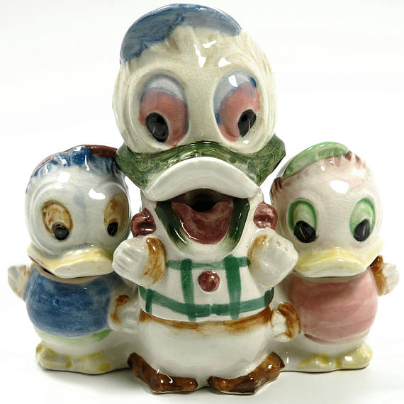 Donald Huey and Louie Duck Porcelain Salt Pepper Toothpick Holder Made in Japan - Indypicker.com