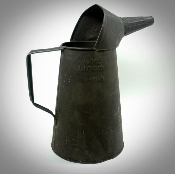 Vintage Half Gallon Oil Can with Spout Garage Collectible - Indypicker.com