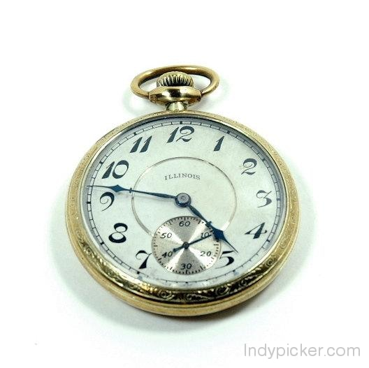 Antique 1916 Illinois Pocket Watch Model 3 14K Gold
