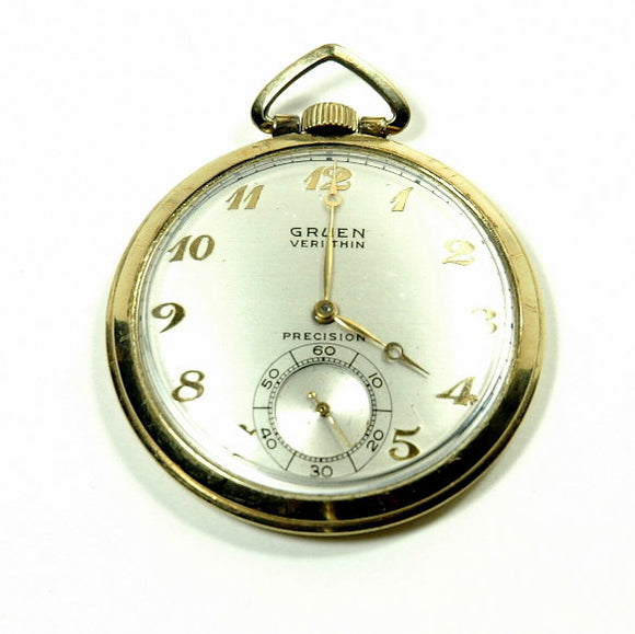 Vintage Gruen Pocket Watch Model Verithin 17J 10K Gold - Indypicker.com