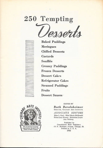 250 Dessert Recipe Book Culinary Arts Institute of Chicago