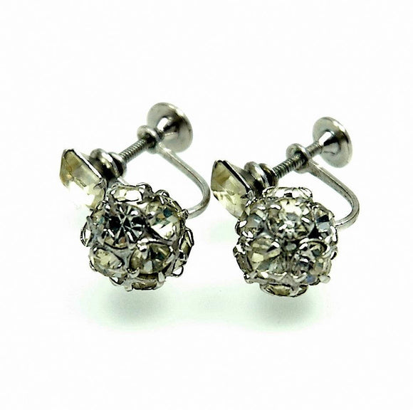 Vintage Jewelry Albert Weiss Earrings Signed Rhodium Rhinestone | Indypicker - Indypicker.com