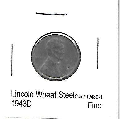 US Coins 1943 Lincoln Wheat Penny Steel Fine Set PD - indypicker-com