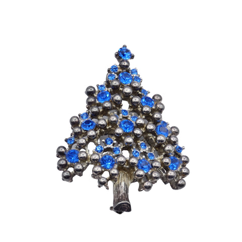 Mid Century Jewelry Eisenberg Blue Rhinestone Christmas Tree Brooch