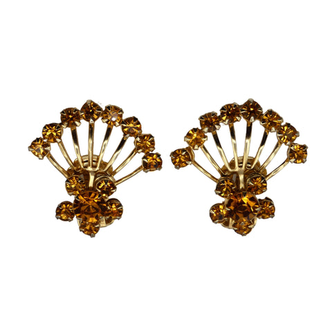 Vintage Jewelry Retro Amber Fan Style Earrings