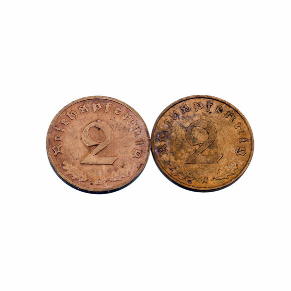Foreign Coins - German 1939E and 1938J 2 Reichspfennig Coins - BU