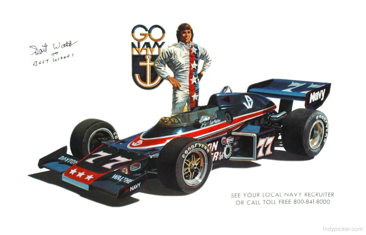 Vintage Salt Walther Poster 1975 Indy 500 Racing Autographed