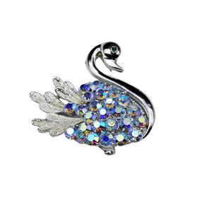 Modern Period Jewelry - Sarah Coventry Swan Rhinestone Brooch