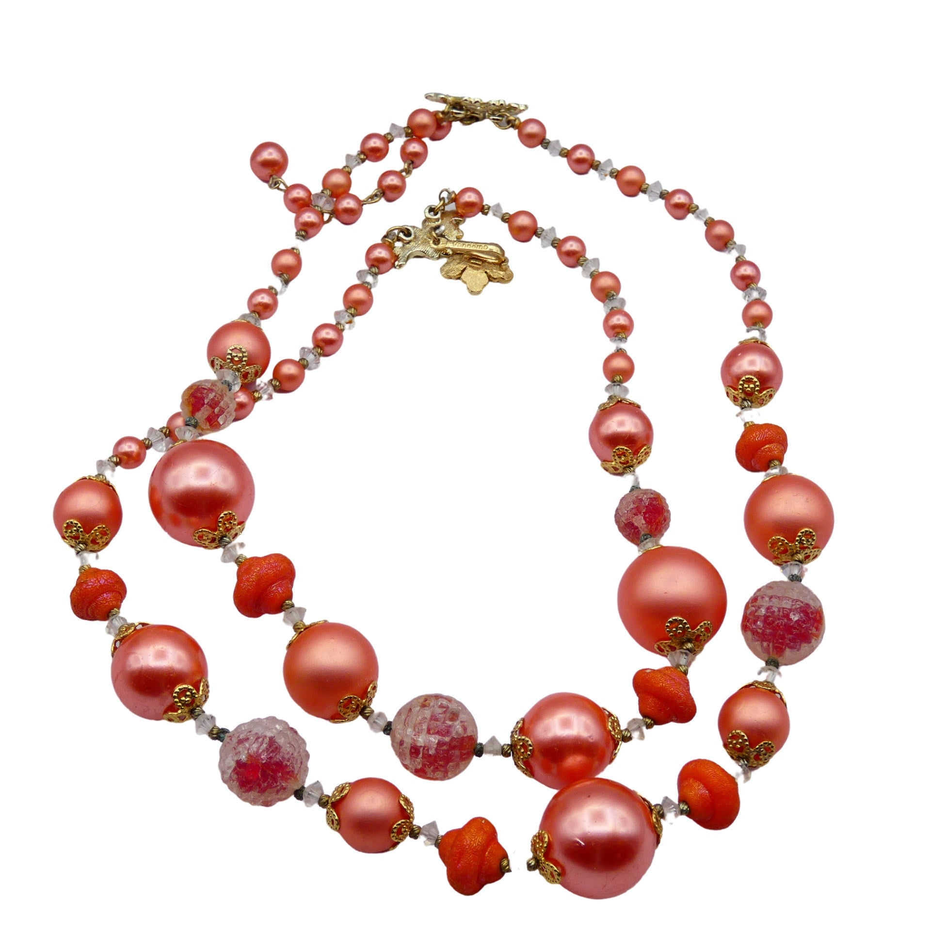 1950s Vendome Pink Lucite Beaded Choker