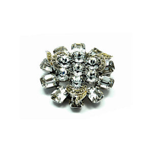 Vintage Jewelry Brooch Signed Albert Weiss Round Flower Rhodium Rhinestone | Indypicker - Indypicker.com