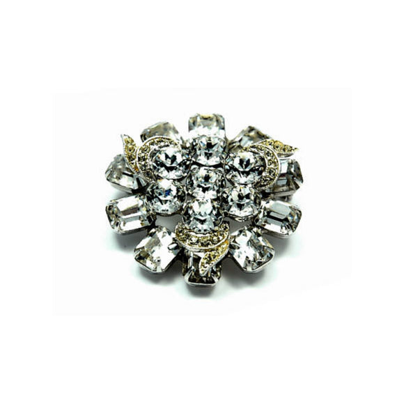 Vintage Jewelry Brooch Signed Albert Weiss Round Flower Rhodium Rhinestone - Indypicker.com