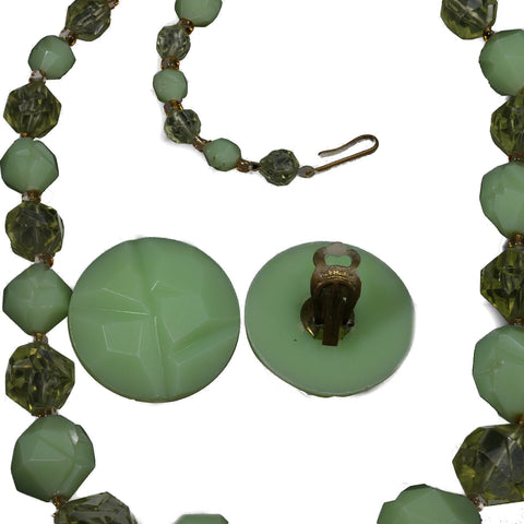 1950s Jewelry Carved Lucite Beaded Necklace Earring Set