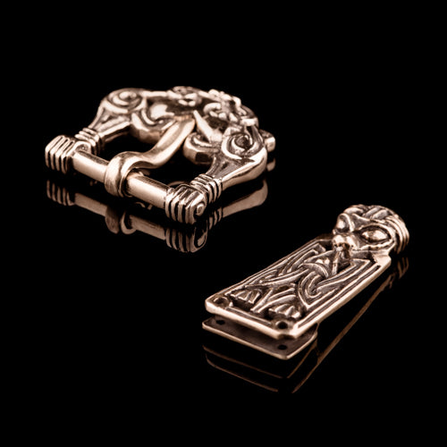 Viking Buckle Set With Wild Boar Mask in Borre Style