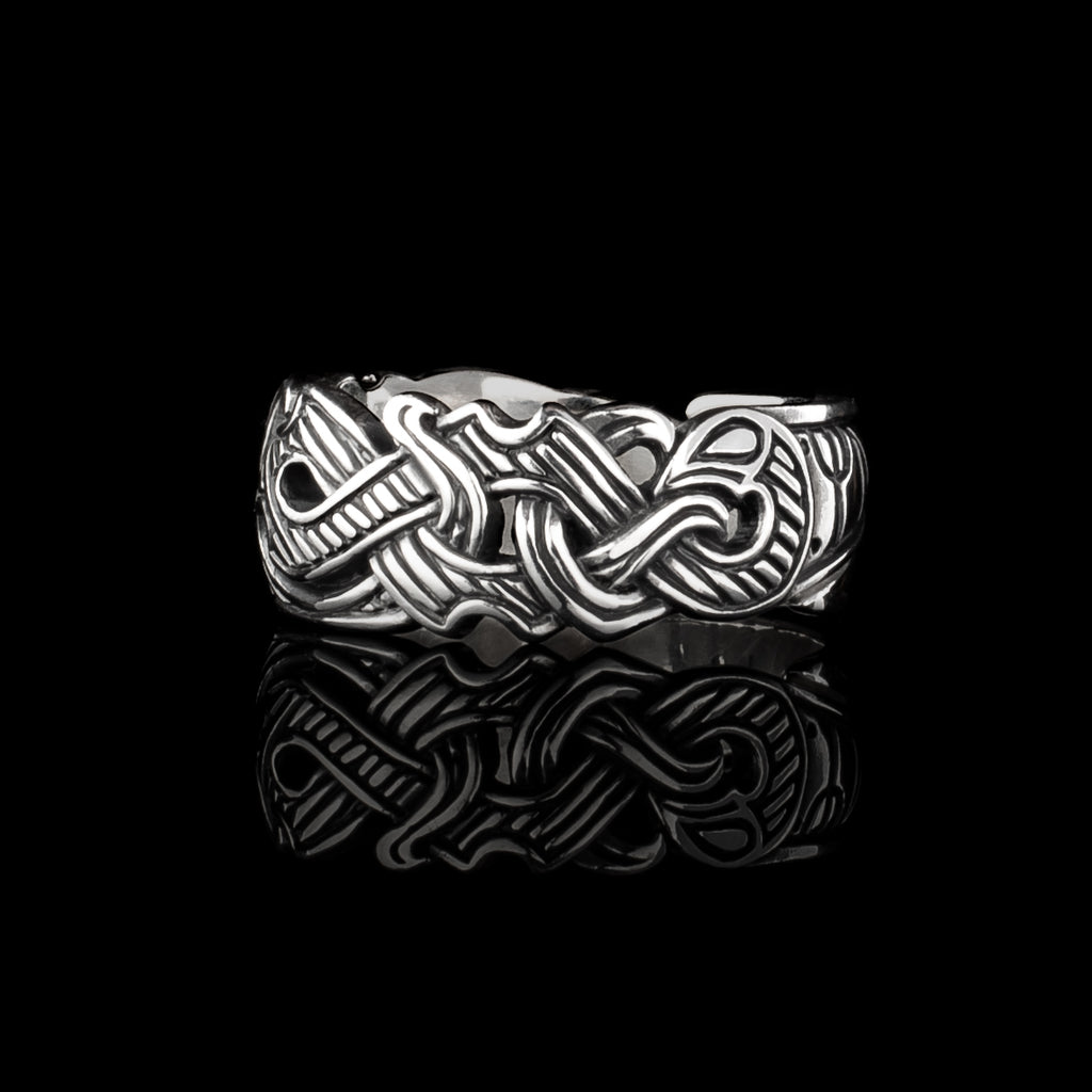 Viking Raven Ring with Runes