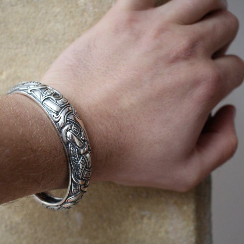 Viking Dragon Armring With Runes