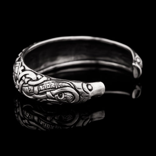 Small Viking Dragon Armring With Runes