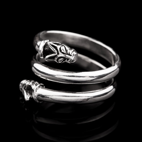 Spiral Double Head Wolf Ring