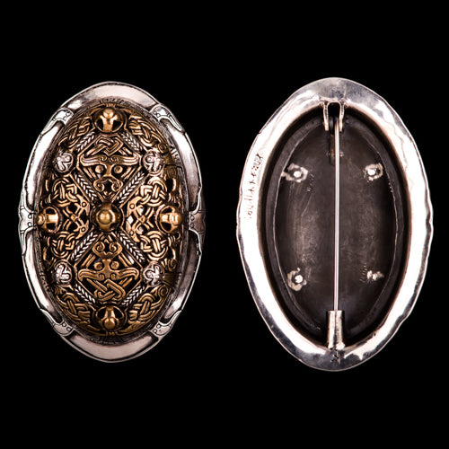 Bronze and Silver Double Skin Tortoise Brooches