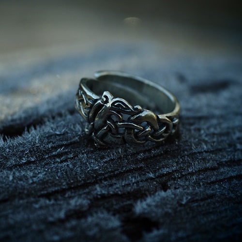 Viking Urnes Wolf Ring