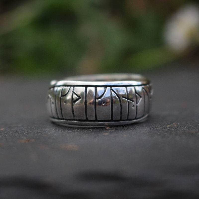 Silver Two-Headed Viking  Serpent Ring