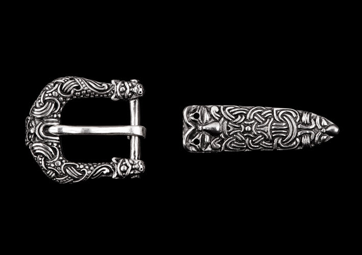Viking Buckle Set With Two Wolf Heads from Gotland