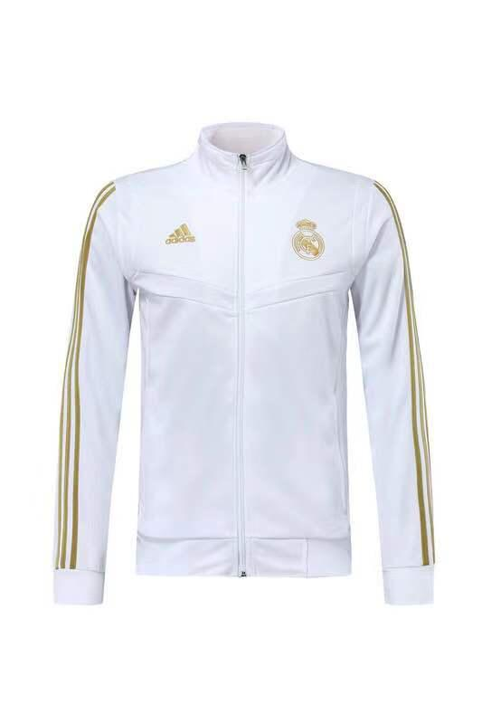 Real Madrid White With Golden Stripe Jacket 19 20 Season