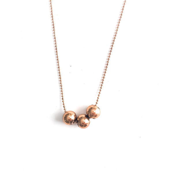 Beaded Necklace (3) Rose Gold