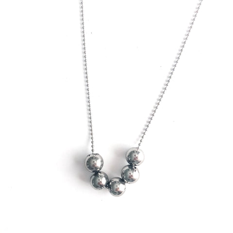 Beaded Necklace (5) Stainless Steel