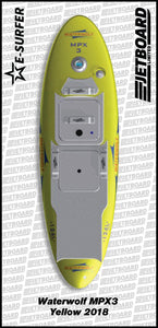 Waterwolf MPX-3 electric surfboard for sale in yellow