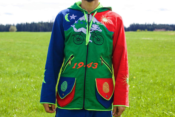 Albert Hofmann Bicycle Day UV jacket - handmade in any size - blacklight active 4 pockets with hoody and flower of life embroidery