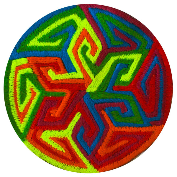 rainbow sunwheel patch - psychedelic art - UV blacklight glowing