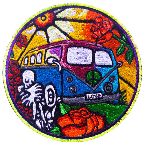 Grateful Dead Hippie Love Bus Patch Woodstock LSD psychedelic rose flower power