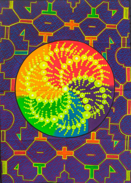 Crop Circle Ayahuasca UV Painting - 90x60cm - handmade on order - fully blacklight glowing colors - psychedelic dmt visionary artwork