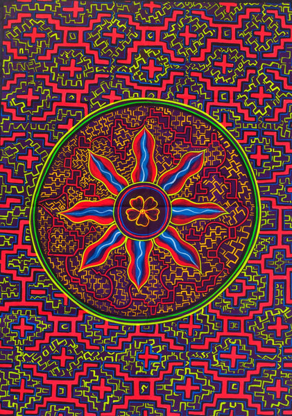 Ayahuasca Flower UV Painting - 90x60cm - handmade on order - fully blacklight glowing colors - psychedelic dmt visionary artwork