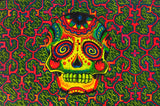 Psychedelic Skull UV Painting - 90x60cm - handmade on order - fully blacklight glowing colors - grateful dead artwork