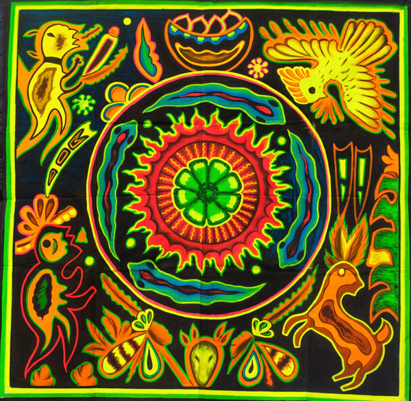 Huichol Peyote Mandala UV Painting - 100x100cm - painted on order - fully blacklight glowing colors - peyote visionary artwork