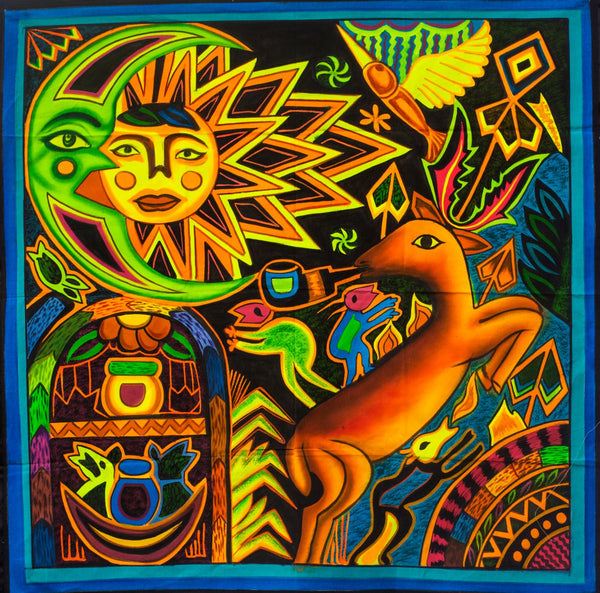 Visionary Peyote UV Artwork - 100x100cm - painted on order - fully blacklight glowing colors - huichol spirit artwork